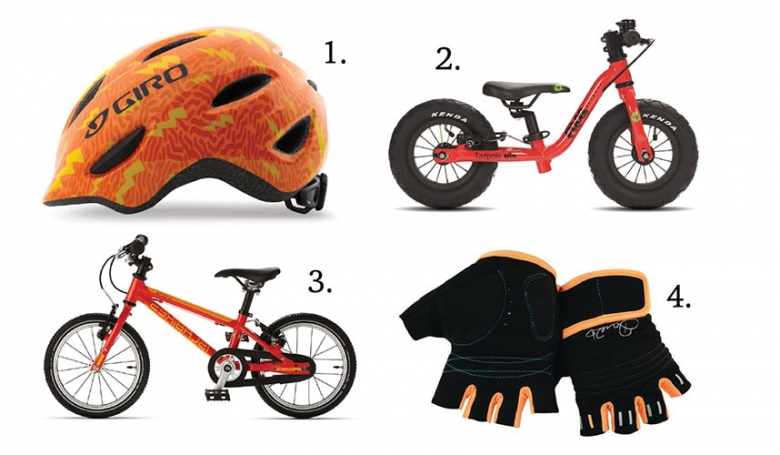 1. Giro Scamp Helmet, £34.99  chainreactioncycles.com 2. Tadpole Mini, £110 frogbikes.com  3.  Cnoc 14 Small, £289 islabikes.co.uk 5. Kids Cycle Mitt, £25 dare2b.com